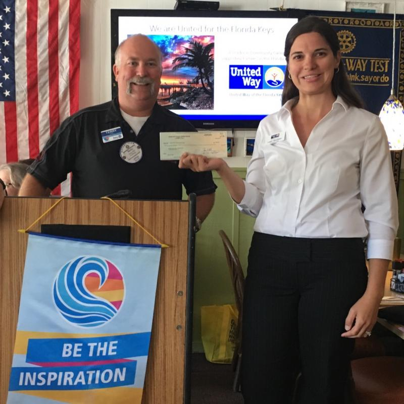 Rotaries in the Keys are wonderful supporters of Stuff the Bus. Thank you to Upper Keys Rotary's Terry Abel for their donation.