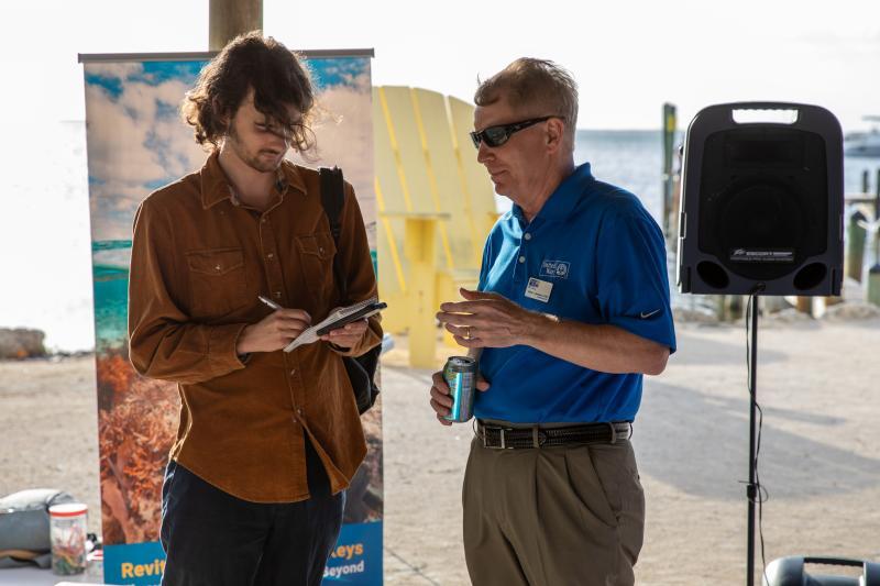 UWKC CEO and President Steven Sanderson talks to local press.