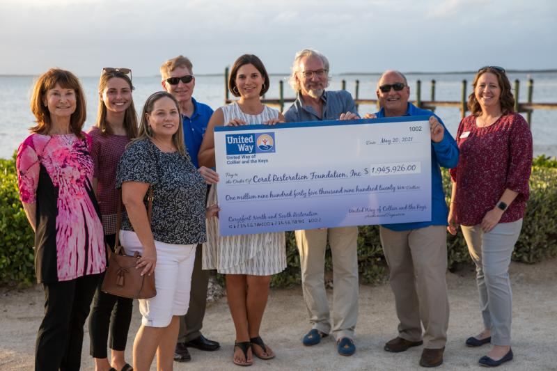 United Way of Collier and the Keys President and CEO Steve Sanderson along with Leah Stockton, Keys Area President, present Coral Restoration Foundation President and CEO Scott Winters and staff with a check for $1,945,926.  In addition to coral reef restoration efforts at Carysfort Reef, funded work will include internships, outreach and community engagement over the next 5 years.