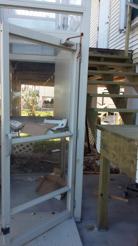This outdoor elevator at a disabled child's home was severely damaged. The parents were distraught.