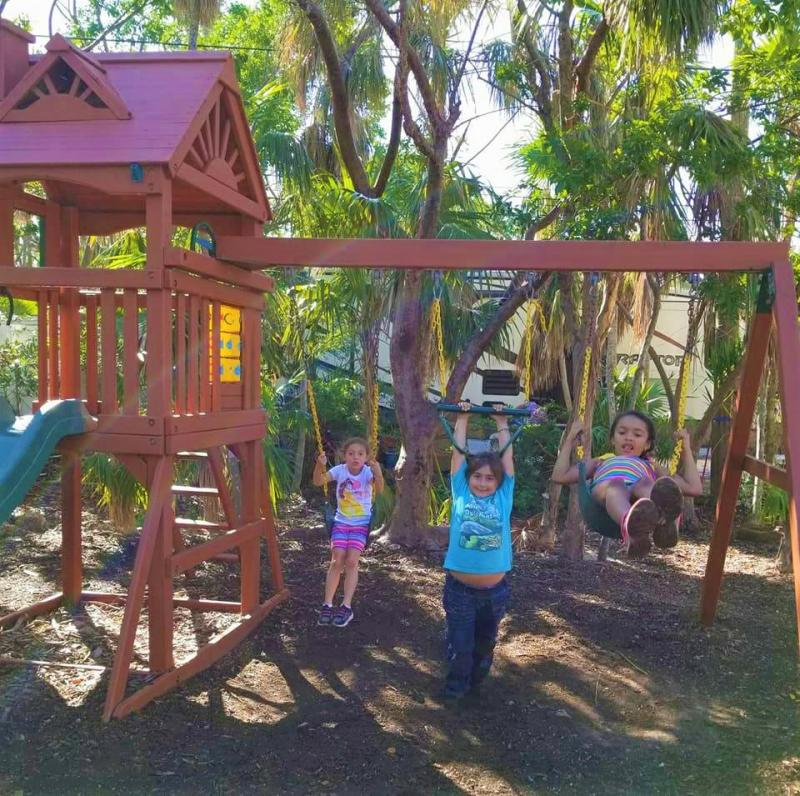 The Hammock House playground was demolished, and the children enjoy the new play area.