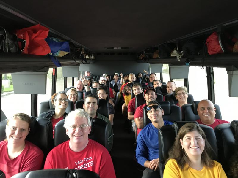 Many busloads of Wells Fargo employees and other volunteers from Miami came to the Keys to help with recovery.