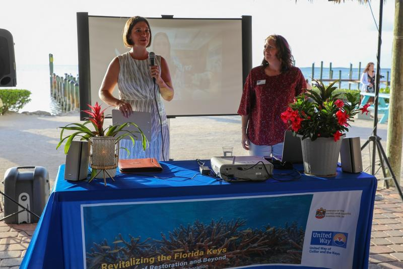 UWCK Keys Area President Leah Stockton and Jessica Dockery, UWCK Reef Revitalization Project Liaison, welcome everyone to the award ceremony.