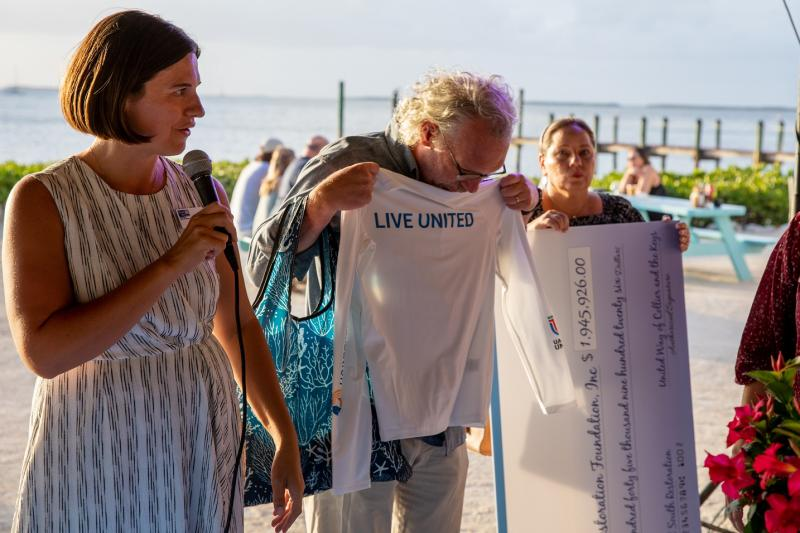 Both grant recipient organizations received custom rashguards for their restoration specialists to wear as they carry out the work of the project on and in the ocean.