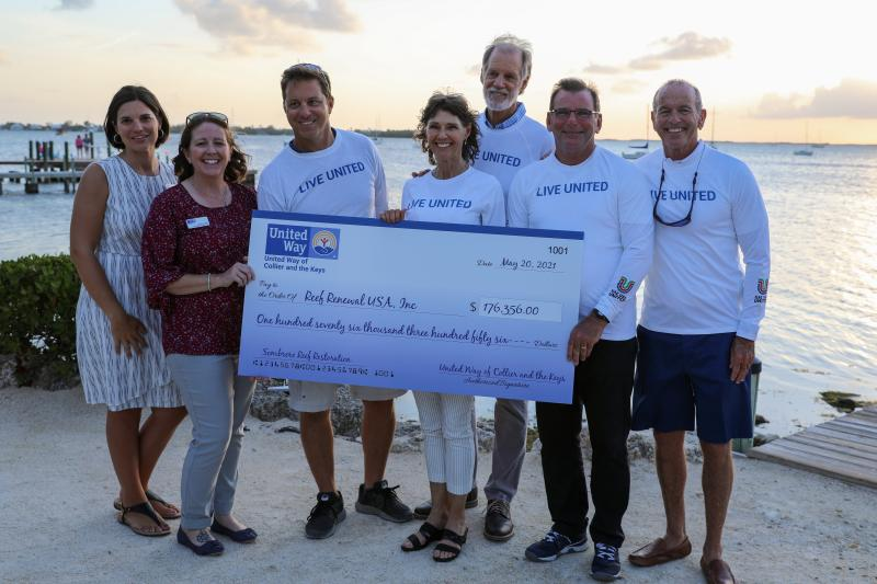 United Way of Collier and the Keys staff present Reef Renewal USA staff and board members with a check for $176,356. Over the next 5 years, Reef Renewal USA will use this funding to implement revolutionary coral restoration outplanting techniques at Sombrero Reef as well as education efforts in the Florida Keys.