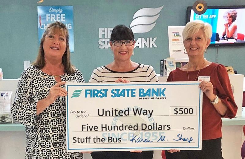 We appreciate First State Bank's Stuff the Bus donation!